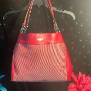 Authentic Coach Lexy  Red/Ivory Bag, Model F57540